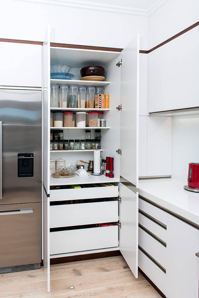 Pantry with internal drawers.