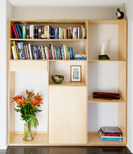Bookcase unit in Birch plywood.