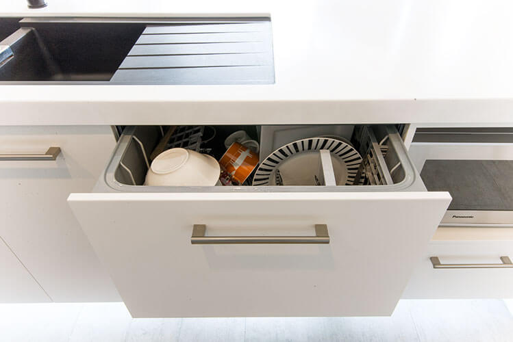 Fully integrated Fisher & Paykel dish drawer.