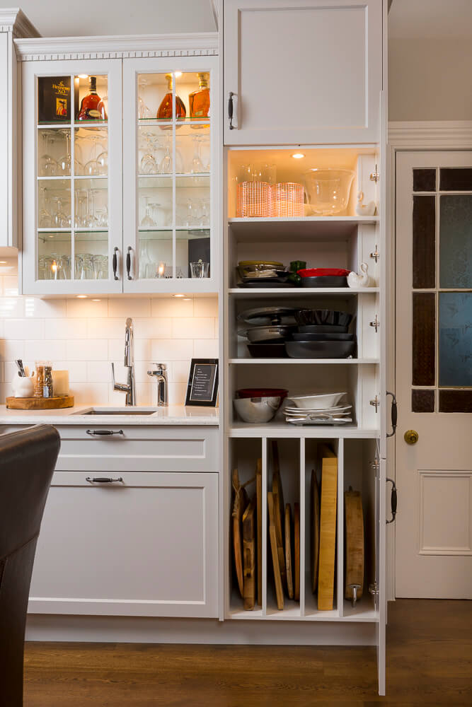 Interior cabinet lights, display areas and custom made storage details.