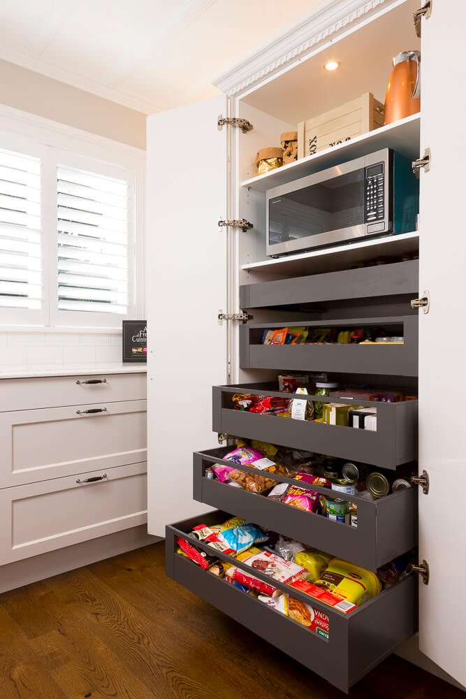 Blum 'Space tower' gives the ultimate pantry storage utilisation.