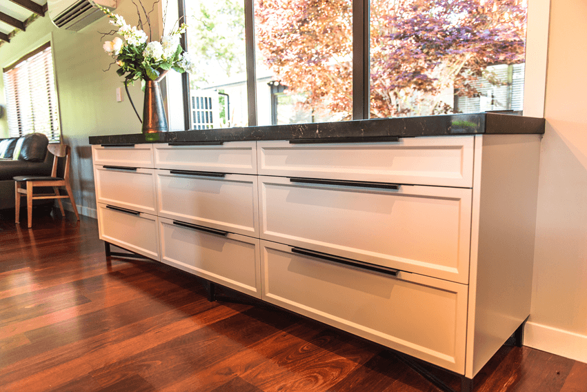 Buffet unit with custom steel base.